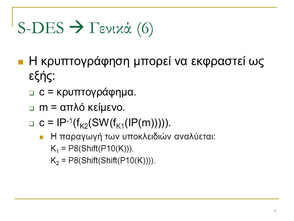 7 Η κρυπτογράφηση μπορεί να εκφραστεί ως εξής:  c = κρυπτογράφημα.  m = απλό κείμενο.  c = IP -1 (f K2 (SW(f K1 (IP(m))))). Η παραγωγή των υποκλειδ