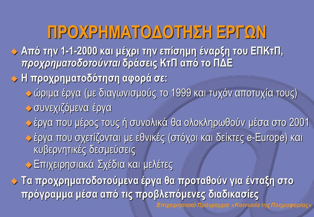Επιχειρησιακό Πρόγραμμα «Κοινωνία της Πληροφορίας» ΠΡΟΧΡΗΜΑΤΟΔΟΤΗΣΗ ΕΡΓΩΝ  Από την 1-1-2000 και μέχρι την επίσημη έναρξη του ΕΠΚτΠ, προχρηματοδοτούντ
