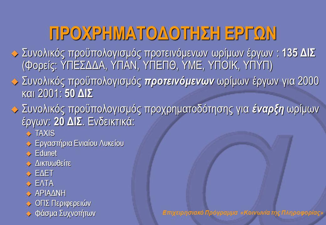 Επιχειρησιακό Πρόγραμμα «Κοινωνία της Πληροφορίας» ΠΡΟΧΡΗΜΑΤΟΔΟΤΗΣΗ ΕΡΓΩΝ  Συνολικός προϋπολογισμός προτεινόμενων ωρίμων έργων : 135 ΔΙΣ (Φορείς: ΥΠΕ