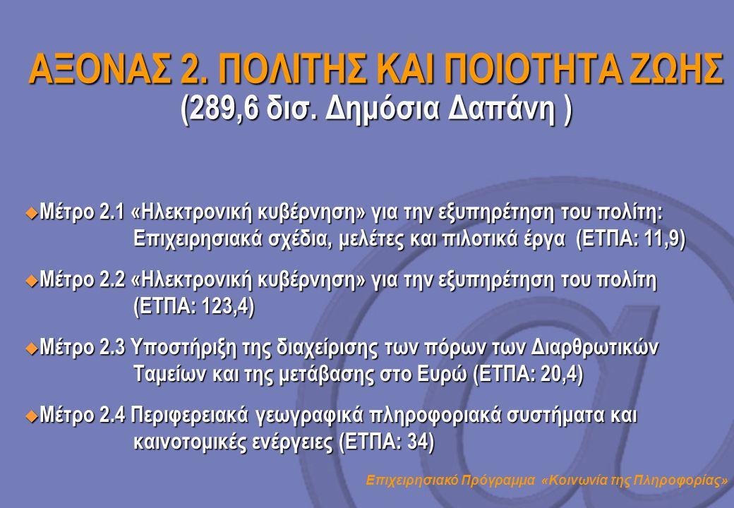 Επιχειρησιακό Πρόγραμμα «Κοινωνία της Πληροφορίας» ΑΞΟΝΑΣ 2. ΠΟΛΙΤΗΣ ΚΑΙ ΠΟΙΟΤΗΤΑ ΖΩΗΣ (289,6 δισ. Δημόσια Δαπάνη )  Μέτρο 2.1 «Ηλεκτρονική κυβέρνηση