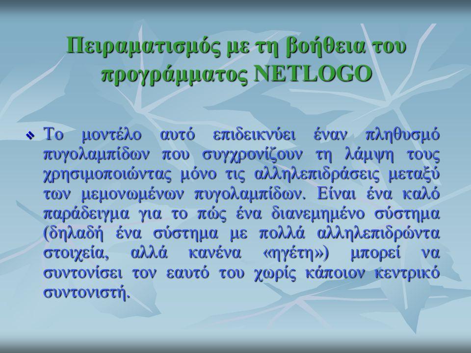 Πειραματισμός με τη βοήθεια του προγράμματος NETLOGO  Το μοντέλο αυτό επιδεικνύει έναν πληθυσμό πυγολαμπίδων που συγχρονίζουν τη λάμψη τους χρησιμοπο