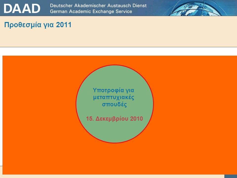 Προθεσμία για 2011 Υποτροφία για μεταπτυχιακές σπουδές 15. Δεκεμβρίου 2010
