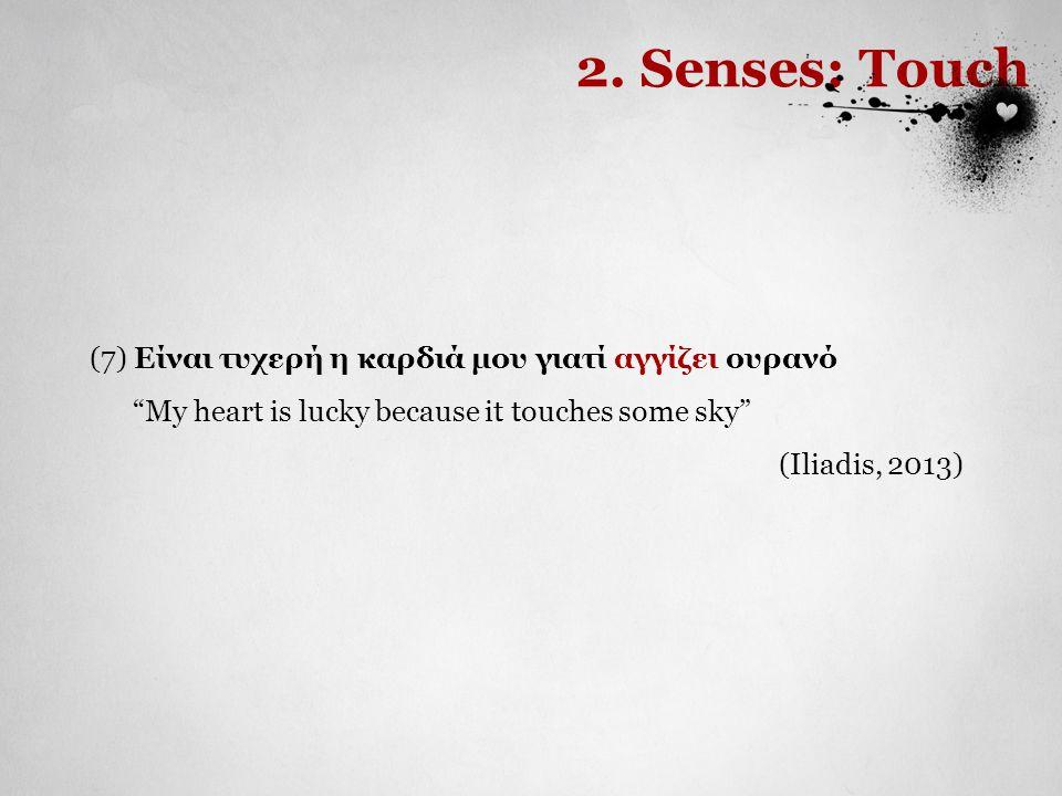"""(7) Είναι τυχερή η καρδιά μου γιατί αγγίζει ουρανό """"My heart is lucky because it touches some sky"""" (Iliadis, 2013) 2. Senses: Touch"""