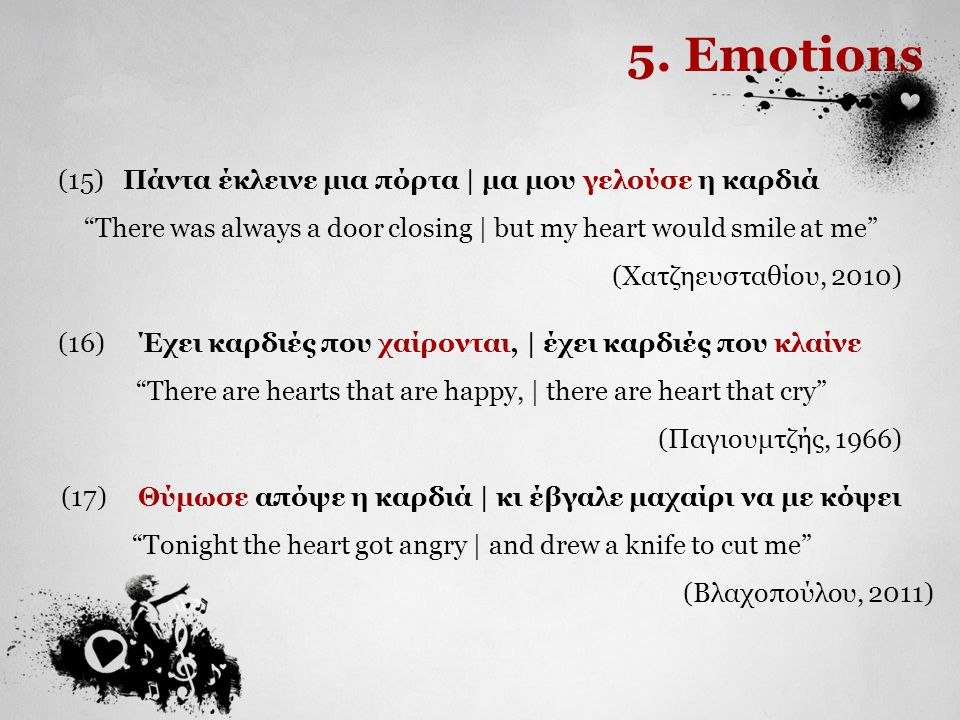 "5. Emotions (15) Πάντα έκλεινε μια πόρτα | μα μου γελούσε η καρδιά ""There was always a door closing 