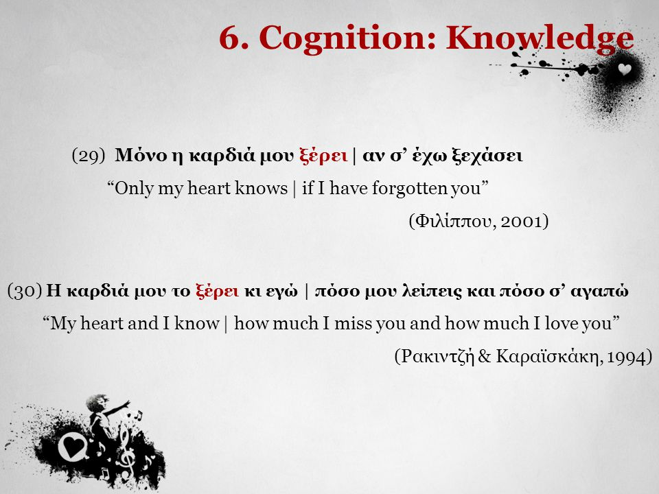 "6. Cognition: Knowledge (29) Μόνο η καρδιά μου ξέρει | αν σ' έχω ξεχάσει ""Only my heart knows 