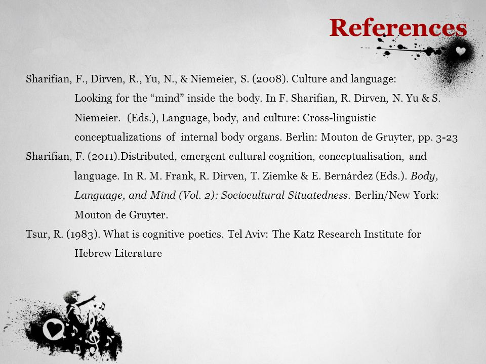 "References Sharifian, F., Dirven, R., Yu, N., & Niemeier, S. (2008). Culture and language: Looking for the ""mind"" inside the body. In F. Sharifian, R."