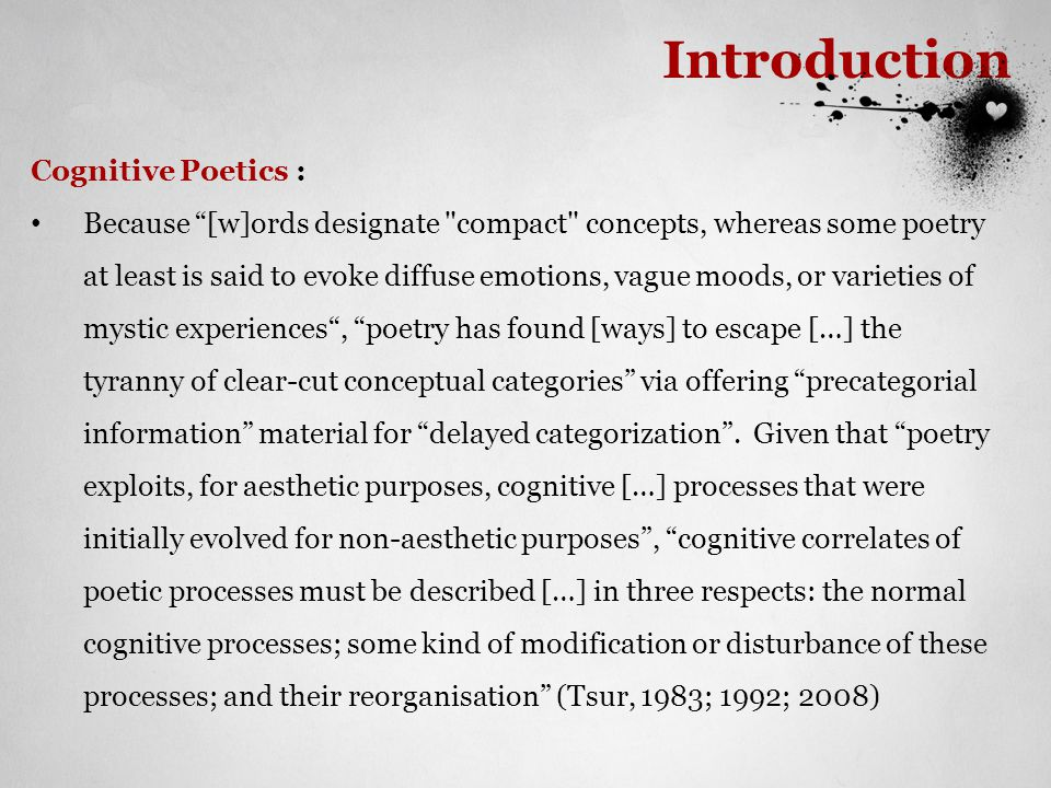 Introduction Embodiment: [M]eaning, understanding, and rationality arise from and are conditioned by the patterns of our bodily experience (Johnson, 1987) Concepts are not transcendental and disembodied abstractions but correlations in bodily experience between a sensorimotor and a subjective experience (Kövecses, 2010) [P]art of our ability to make sense of […] language [..] resides in the automatic construction of a simulation whereby we imagine performing the bodily actions referred to in the language (Gibbs, 2006)
