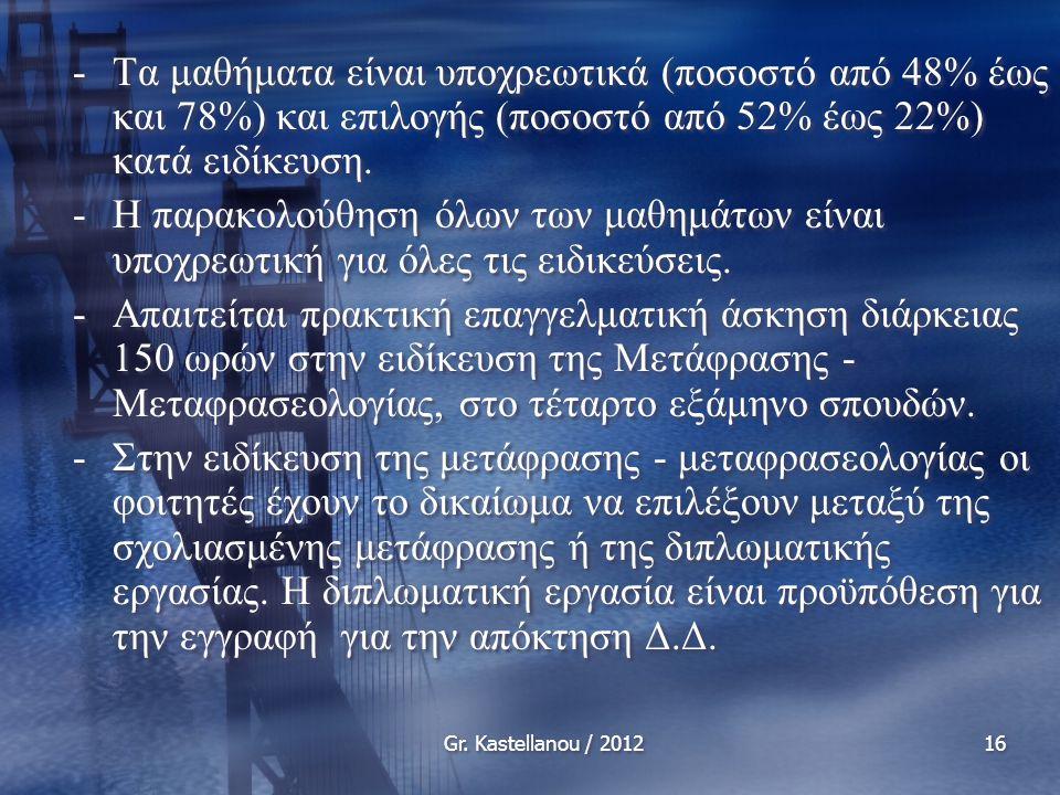 Gr. Kastellanou / 201216 -Τα μαθήματα είναι υποχρεωτικά (ποσοστό από 48% έως και 78%) και επιλογής (ποσοστό από 52% έως 22%) κατά ειδίκευση. -Η παρακο