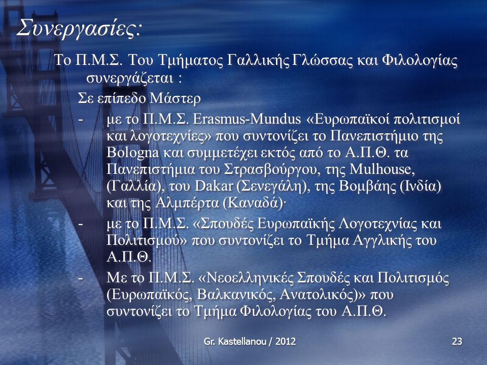 Gr. Kastellanou / 201223 Συνεργασίες: Το Π.Μ.Σ.