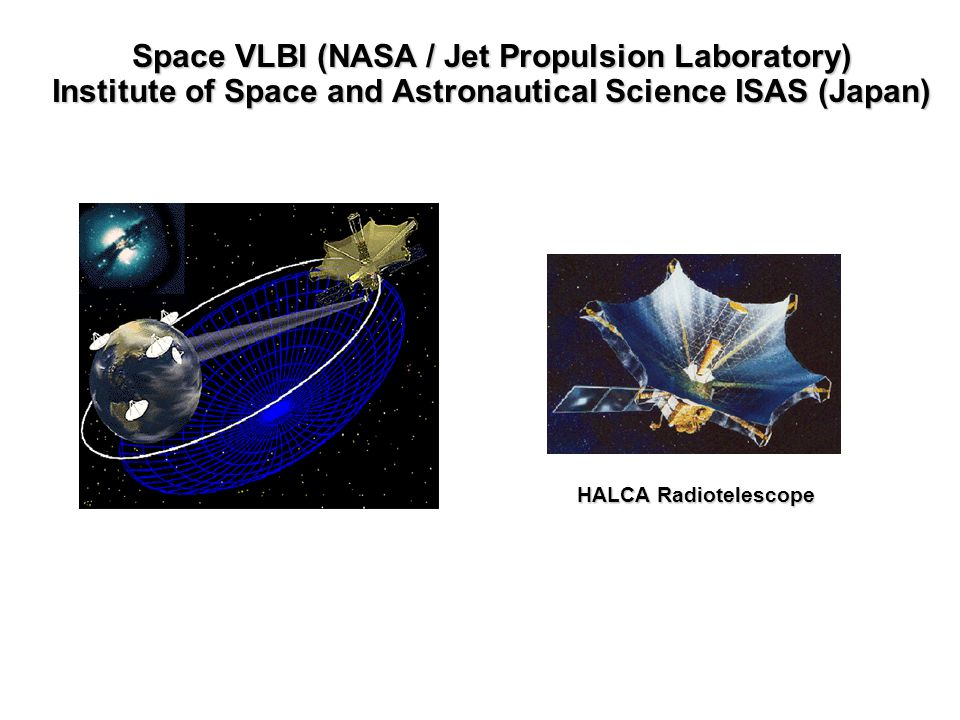 Space VLBI (NASA / Jet Propulsion Laboratory) Institute of Space and Astronautical Science ISAS (Japan) HALCA Radiotelescope