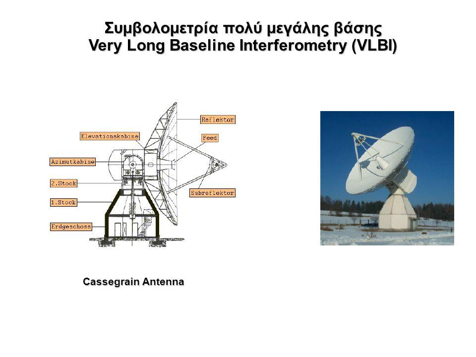 Συμβολομετρία πολύ μεγάλης βάσης Very Long Baseline Interferometry (VLBI) Παρατηρώντας πολλές ραδιοπηγές υπολογίζονται τo b καθώς και τα διανύσματα κατεύθυνσης προς τις διάφορες πηγές