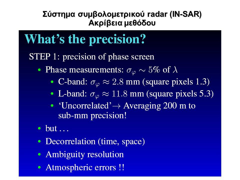 Σύστημα συμβολομετρικού radar (IN-SAR) Ακρίβεια μεθόδου
