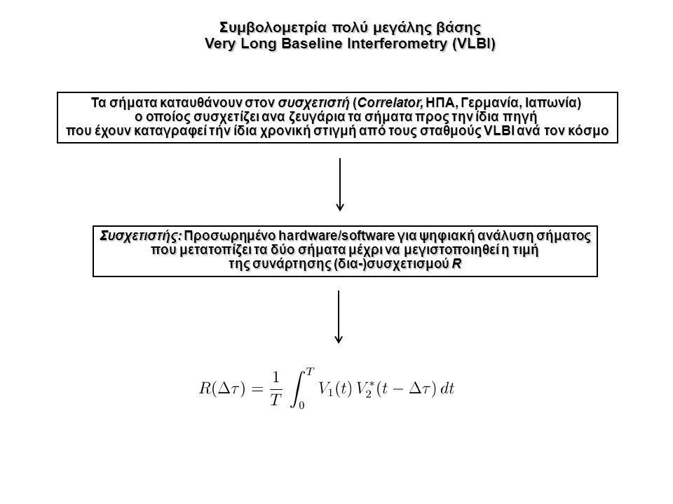 Συμβολομετρία πολύ μεγάλης βάσης Very Long Baseline Interferometry (VLBI) Τα σήματα καταυθάνουν στον συσχετιστή (Correlator, ΗΠΑ, Γερμανία, Ιαπωνία) ο οποίος συσχετίζει ανα ζευγάρια τα σήματα προς την ίδια πηγή που έχουν καταγραφεί τήν ίδια χρονική στιγμή από τους σταθμούς VLBI ανά τον κόσμο Συσχετιστής: Προσωρημένο hardware/software για ψηφιακή ανάλυση σήματος που μετατοπίζει τα δύο σήματα μέχρι να μεγιστοποιηθεί η τιμή της συνάρτησης (δια-)συσχετισμού R