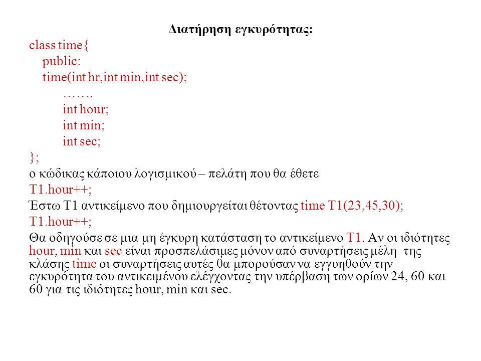 Διατήρηση εγκυρότητας: class time{ public: time(int hr,int min,int sec); ……. int hour; int min; int sec; }; ο κώδικας κάποιου λογισμικού – πελάτη που