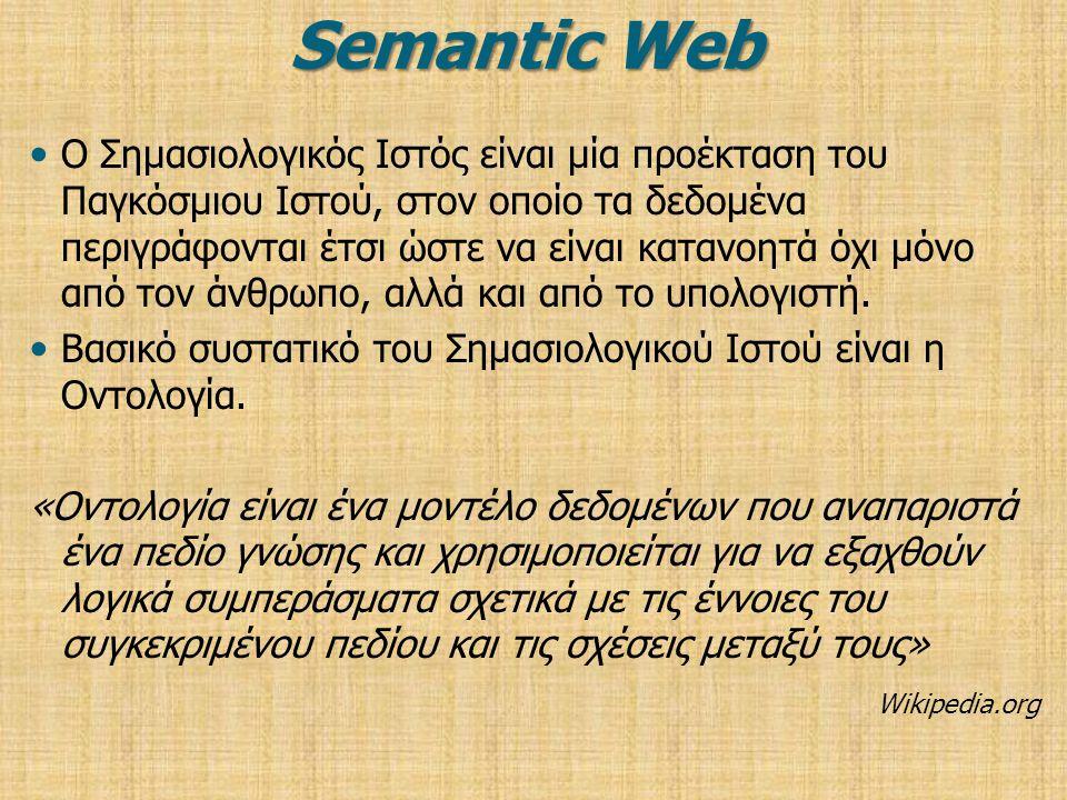 Semantic Web Ο Σημασιολογικός Ιστός είναι μία προέκταση του Παγκόσμιου Ιστού, στον οποίο τα δεδομένα περιγράφονται έτσι ώστε να είναι κατανοητά όχι μόνο από τον άνθρωπο, αλλά και από το υπολογιστή.