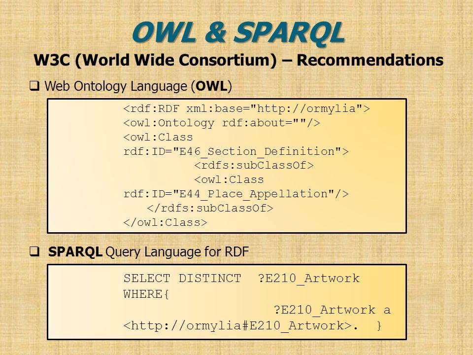 OWL & SPARQL  Web Ontology Language (OWL)  SPARQL Query Language for RDF SELECT DISTINCT ?E210_Artwork WHERE{ ?E210_Artwork a.