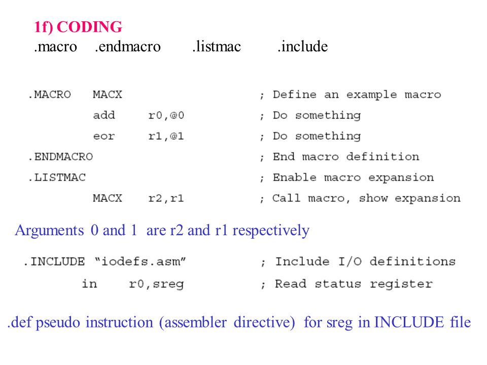 1f) CODING.macro.endmacro.listmac.include Arguments 0 and 1 are r2 and r1 respectively.def pseudo instruction (assembler directive) for sreg in INCLUDE file