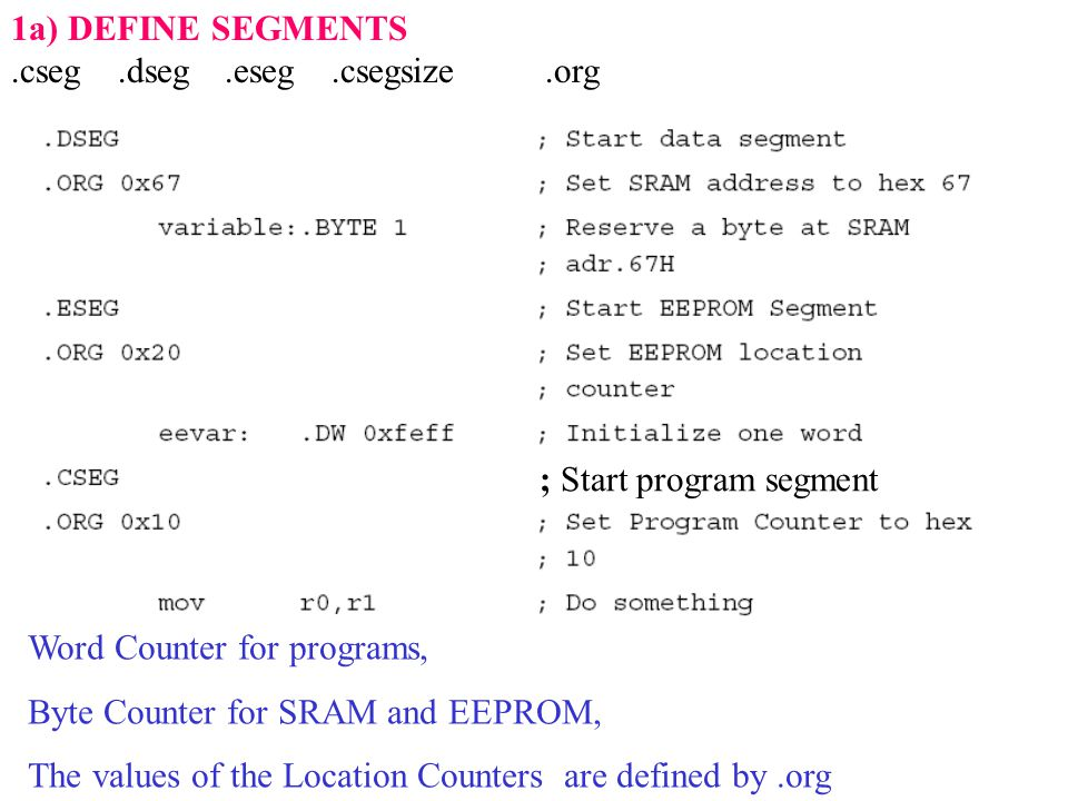 1a) DEFINE SEGMENTS.cseg.dseg.eseg.csegsize.org Word Counter for programs, Byte Counter for SRAM and EEPROM, The values of the Location Counters are defined by.org ; Start program segment