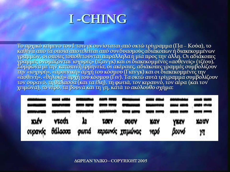 ΔΩΡΕΑΝ ΥΛΙΚΟ – COPYRIGHT 2005 I -CHING Το αρχικό κείμενο του Ι-τσινγκ συνίσταται από οκτώ τρίγραμμα (Πα – Κούα), το καθένα από τα οποία αποτελείται από συνδυασμούς αδιάκοπων ή διακεκομμένων γραμμών, οι οποίες τοποθετούνται παράλληλα η μία προς την άλλη.