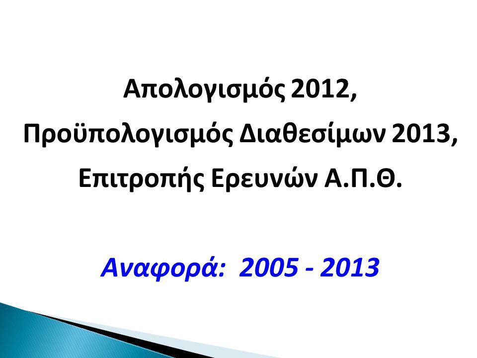 Απολογισμός 2012, Προϋπολογισμός Διαθεσίμων 2013, Επιτροπής Ερευνών Α.Π.Θ. Αναφορά: 2005 - 2013