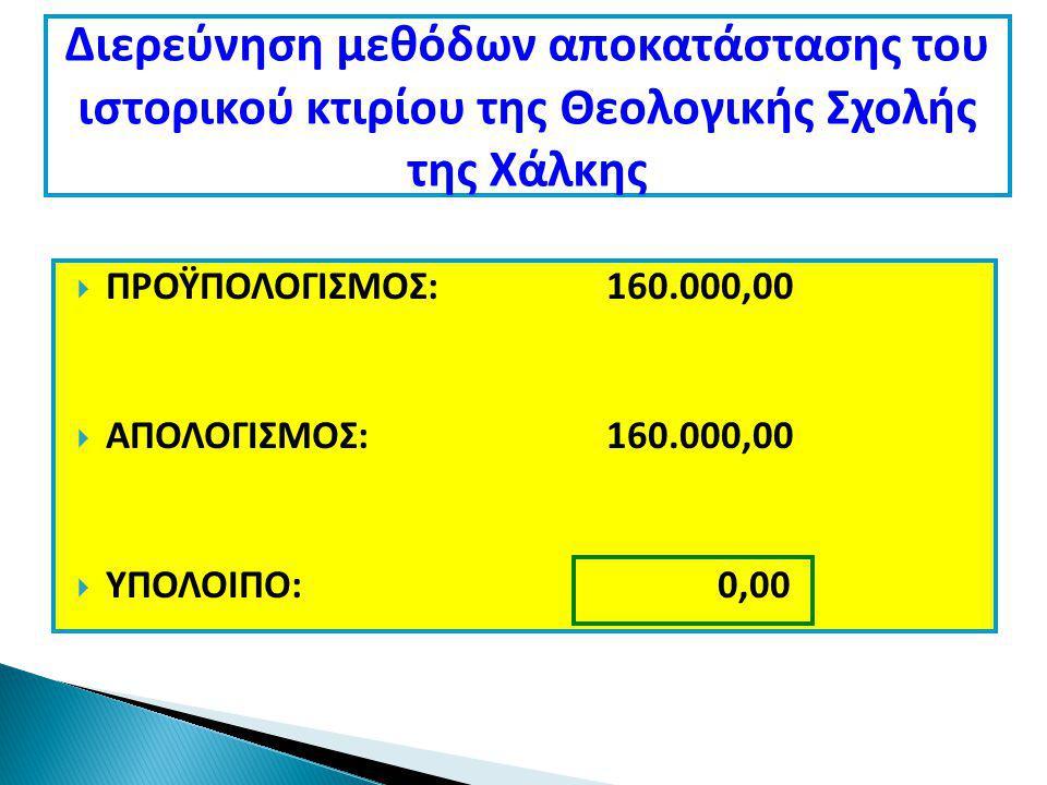  ΠΡΟΫΠΟΛΟΓΙΣΜΟΣ: 160.000,00  ΑΠΟΛΟΓΙΣΜΟΣ: 160.000,00  ΥΠΟΛΟΙΠΟ: 0,00 Διερεύνηση μεθόδων αποκατάστασης του ιστορικού κτιρίου της Θεολογικής Σχολής της Χάλκης