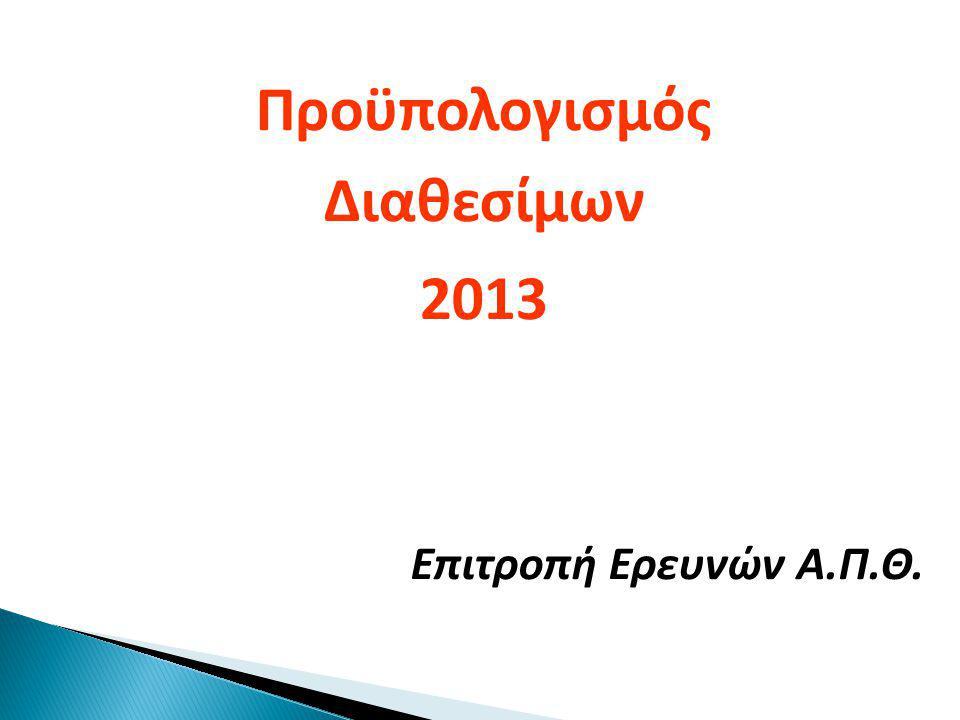 Προϋπολογισμός Διαθεσίμων 2013 Επιτροπή Ερευνών Α.Π.Θ.