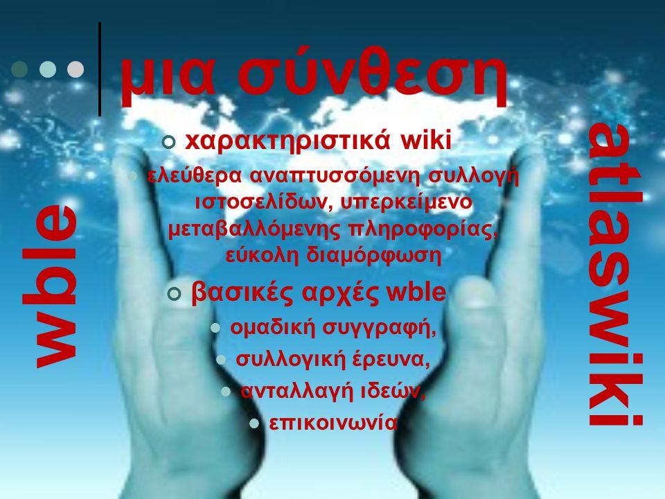 μια σύνθεση xαρακτηριστικά wiki ελεύθερα αναπτυσσόμενη συλλογή ιστοσελίδων, υπερκείμενο μεταβαλλόμενης πληροφορίας, εύκολη διαμόρφωση βασικές αρχές wb