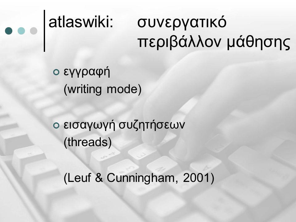 atlaswiki: συνεργατικό περιβάλλον μάθησης εγγραφή (writing mode) εισαγωγή συζητήσεων (threads) (Leuf & Cunningham, 2001)