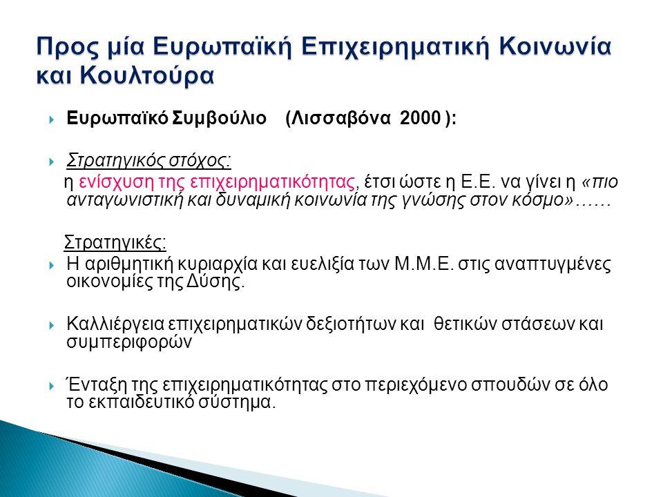  Ευρωπαϊκό Συμβούλιο (Λισσαβόνα 2000 ):  Στρατηγικός στόχος: η ενίσχυση της επιχειρηματικότητας, έτσι ώστε η Ε.Ε. να γίνει η «πιο ανταγωνιστική και