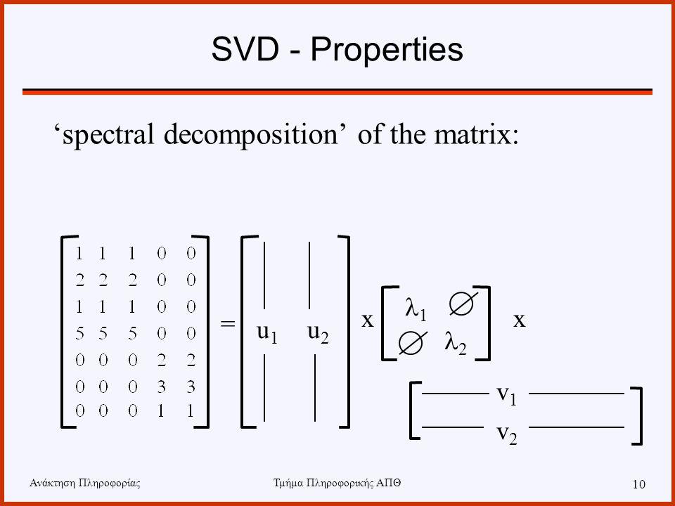 Ανάκτηση ΠληροφορίαςΤμήμα Πληροφορικής ΑΠΘ 10 SVD - Properties 'spectral decomposition' of the matrix: = xx u1u1 u2u2 1 2 v1v1 v2v2