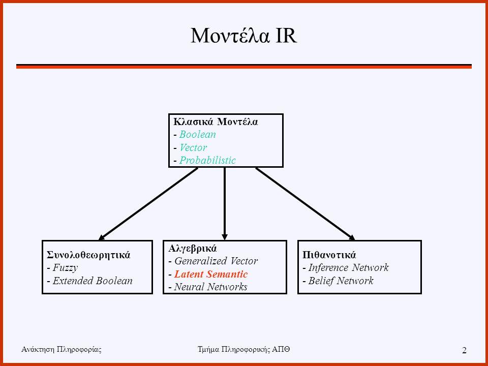 Ανάκτηση ΠληροφορίαςΤμήμα Πληροφορικής ΑΠΘ 2 Μοντέλα IR Κλασικά Μοντέλα - Boolean - Vector - Probabilistic Συνολοθεωρητικά - Fuzzy - Extended Boolean