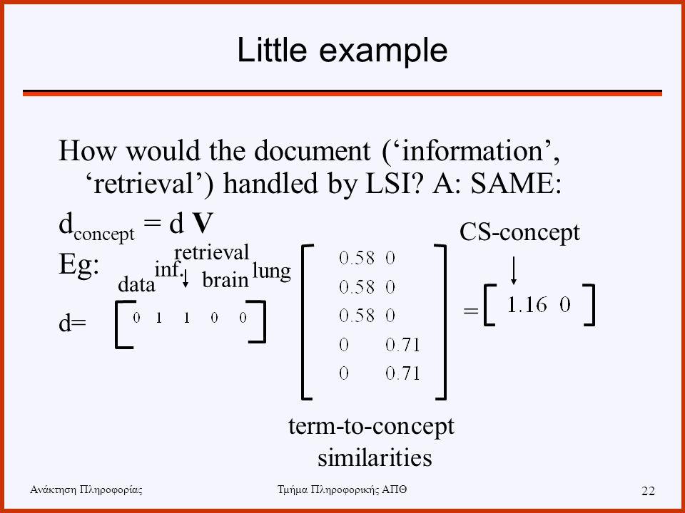 Ανάκτηση ΠληροφορίαςΤμήμα Πληροφορικής ΑΠΘ 22 Little example How would the document ('information', 'retrieval') handled by LSI? A: SAME: d concept =
