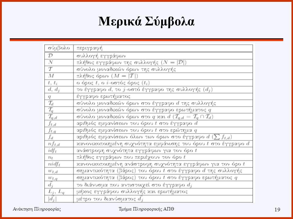 Ανάκτηση ΠληροφορίαςΤμήμα Πληροφορικής ΑΠΘ 19 Μερικά Σύμβολα