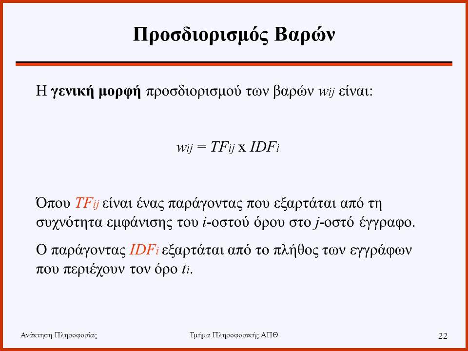 Ανάκτηση ΠληροφορίαςΤμήμα Πληροφορικής ΑΠΘ 22 Η γενική μορφή προσδιορισμού των βαρών w ij είναι: w ij = TF ij x IDF i Όπου TF ij είναι ένας παράγοντας που εξαρτάται από τη συχνότητα εμφάνισης του i-οστού όρου στο j-οστό έγγραφο.