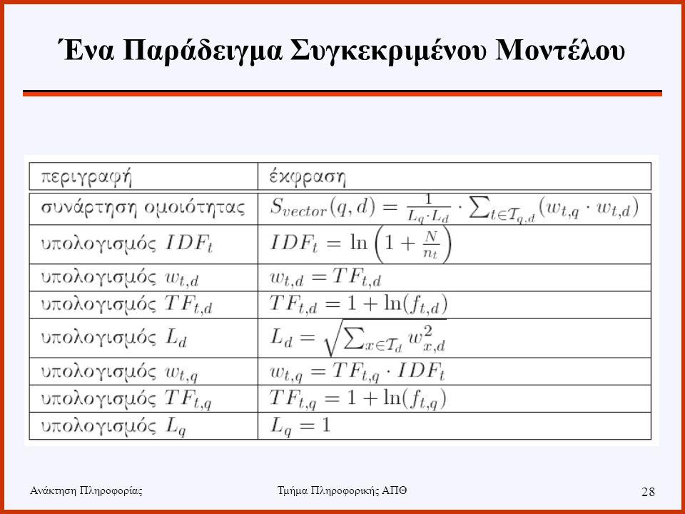 Ανάκτηση ΠληροφορίαςΤμήμα Πληροφορικής ΑΠΘ 28 Ένα Παράδειγμα Συγκεκριμένου Μοντέλου