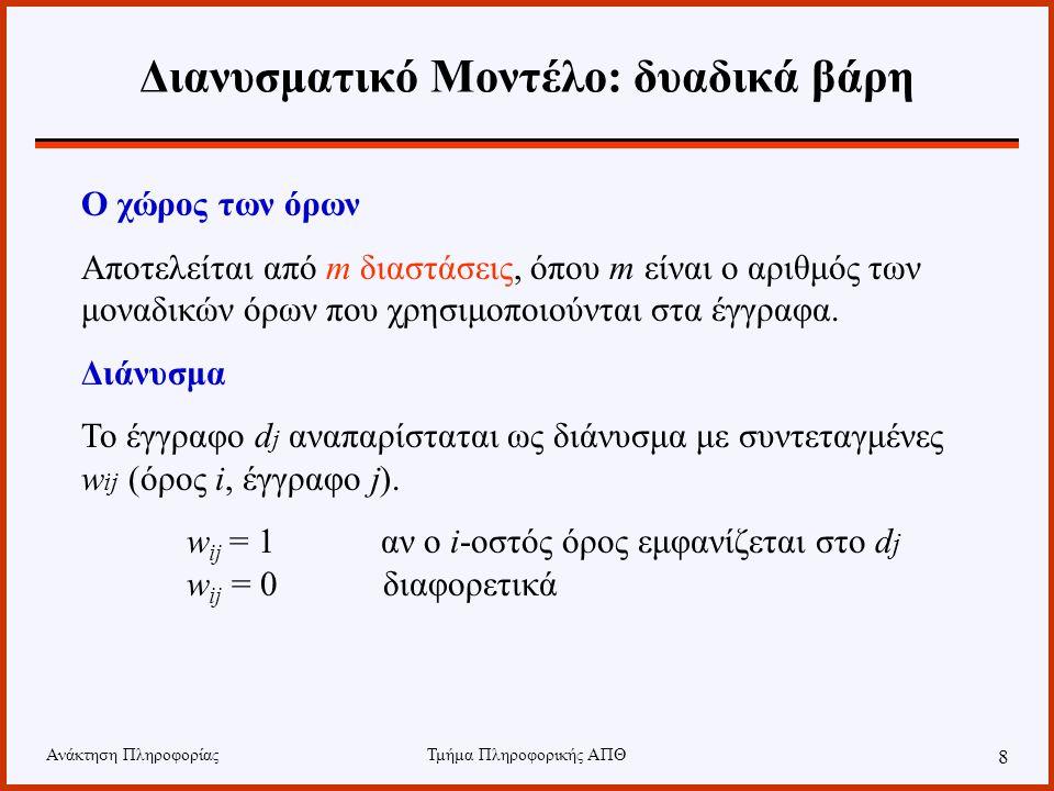 Ανάκτηση ΠληροφορίαςΤμήμα Πληροφορικής ΑΠΘ 8 Διανυσματικό Μοντέλο: δυαδικά βάρη Ο χώρος των όρων Αποτελείται από m διαστάσεις, όπου m είναι ο αριθμός των μοναδικών όρων που χρησιμοποιούνται στα έγγραφα.