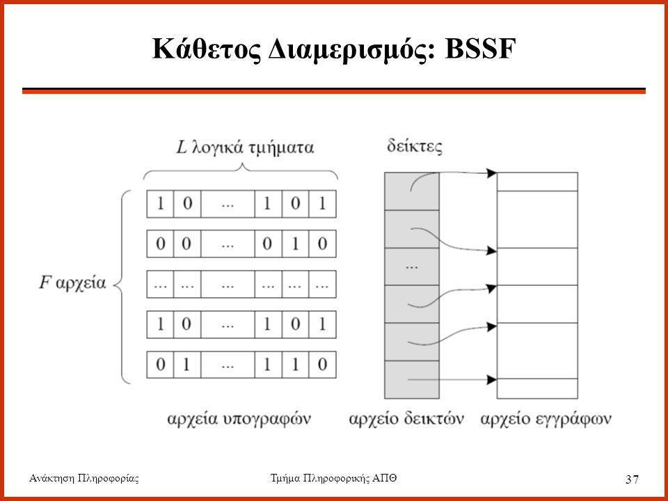 Ανάκτηση ΠληροφορίαςΤμήμα Πληροφορικής ΑΠΘ 37 Κάθετος Διαμερισμός: BSSF