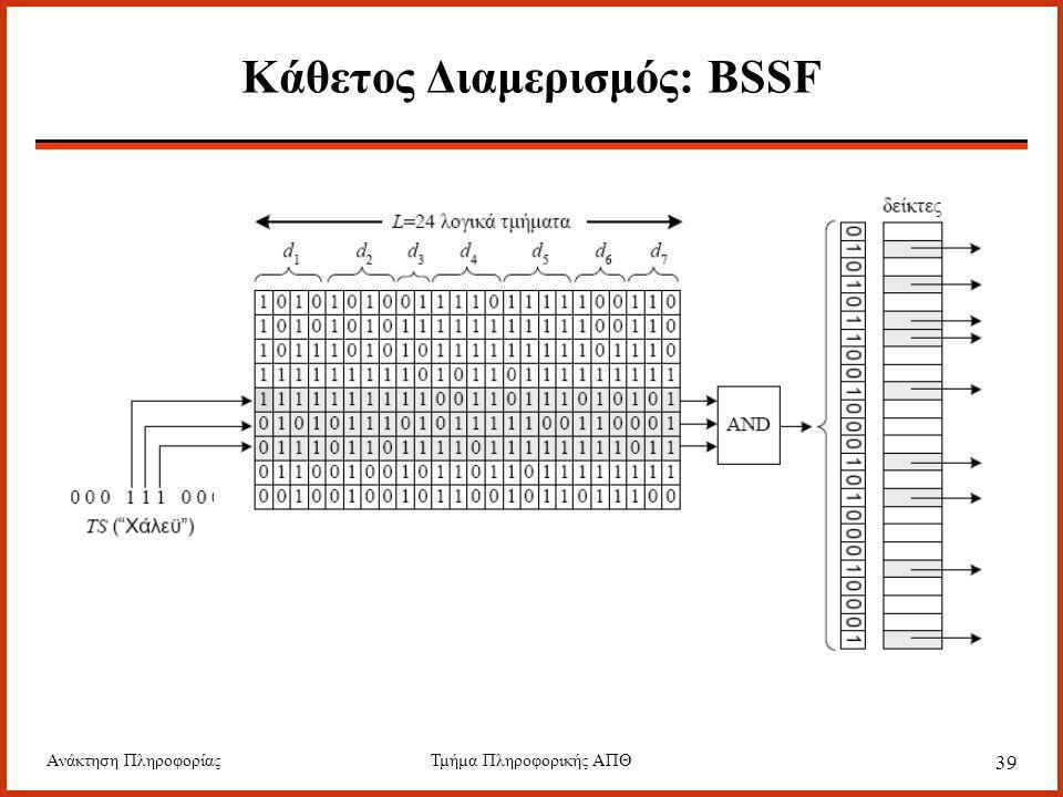 Ανάκτηση ΠληροφορίαςΤμήμα Πληροφορικής ΑΠΘ 39 Κάθετος Διαμερισμός: BSSF