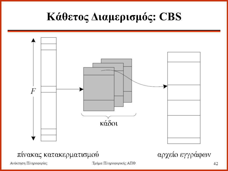 Ανάκτηση ΠληροφορίαςΤμήμα Πληροφορικής ΑΠΘ 42 Κάθετος Διαμερισμός: CBS