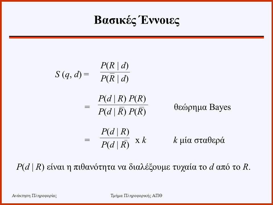 Ανάκτηση ΠληροφορίαςΤμήμα Πληροφορικής ΑΠΘ Βασικές Έννοιες S (q, d) = = θεώρημα Bayes = x k k μία σταθερά P(R | d) P(d | R) P(R) P(d | R) P(d | R) είν