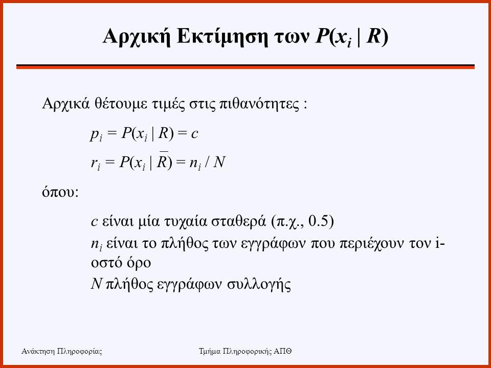 Ανάκτηση ΠληροφορίαςΤμήμα Πληροφορικής ΑΠΘ Αρχική Εκτίμηση των P(x i | R) Αρχικά θέτουμε τιμές στις πιθανότητες : p i = P(x i | R) = c r i = P(x i | R
