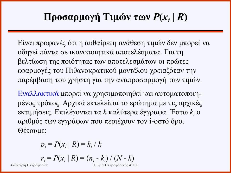 Ανάκτηση ΠληροφορίαςΤμήμα Πληροφορικής ΑΠΘ Προσαρμογή Τιμών των P(x i | R) Είναι προφανές ότι η αυθαίρετη ανάθεση τιμών δεν μπορεί να οδηγεί πάντα σε