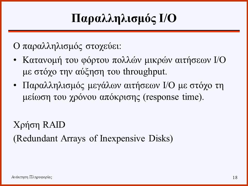 Ανάκτηση Πληροφορίας 17 Παραλληλισμός Ι/Ο Ο τρόπος με τον οποίο διαμοιράζονται τα δεδομένα στους δίσκους παίζει σημαντικό ρόλο στην επίδοση του συστήμ