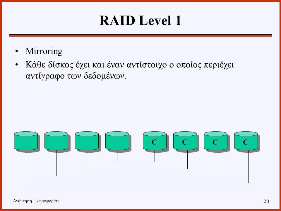Ανάκτηση Πληροφορίας 19 RAID Level 0 Κάθε δίσκος αποθηκεύει τα δικά του δεδομένα. Δεν υπάρχει επανάληψη. Σε περίπτωση που έχουμε failure σε έναν δίσκο