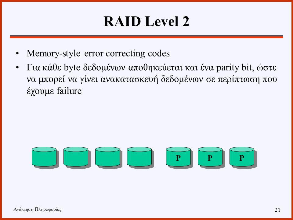Ανάκτηση Πληροφορίας 20 RAID Level 1 Mirroring Κάθε δίσκος έχει και έναν αντίστοιχο ο οποίος περιέχει αντίγραφο των δεδομένων. C C C C C C C C