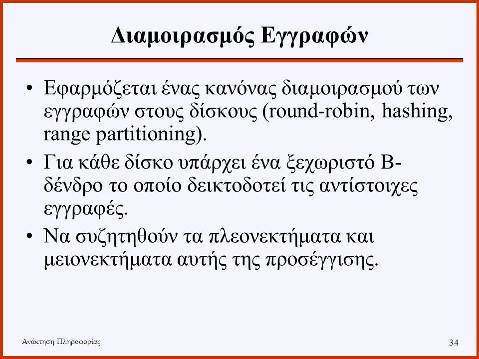 Ανάκτηση Πληροφορίας 33 Διαμοιρασμός B-δένδρου Τεχνικές που χρησιμοποιούνται Διαμοιρασμός των εγγραφών Υπερ-σελίδες Διαμοιρασμός σελίδων Multi-Disk B-