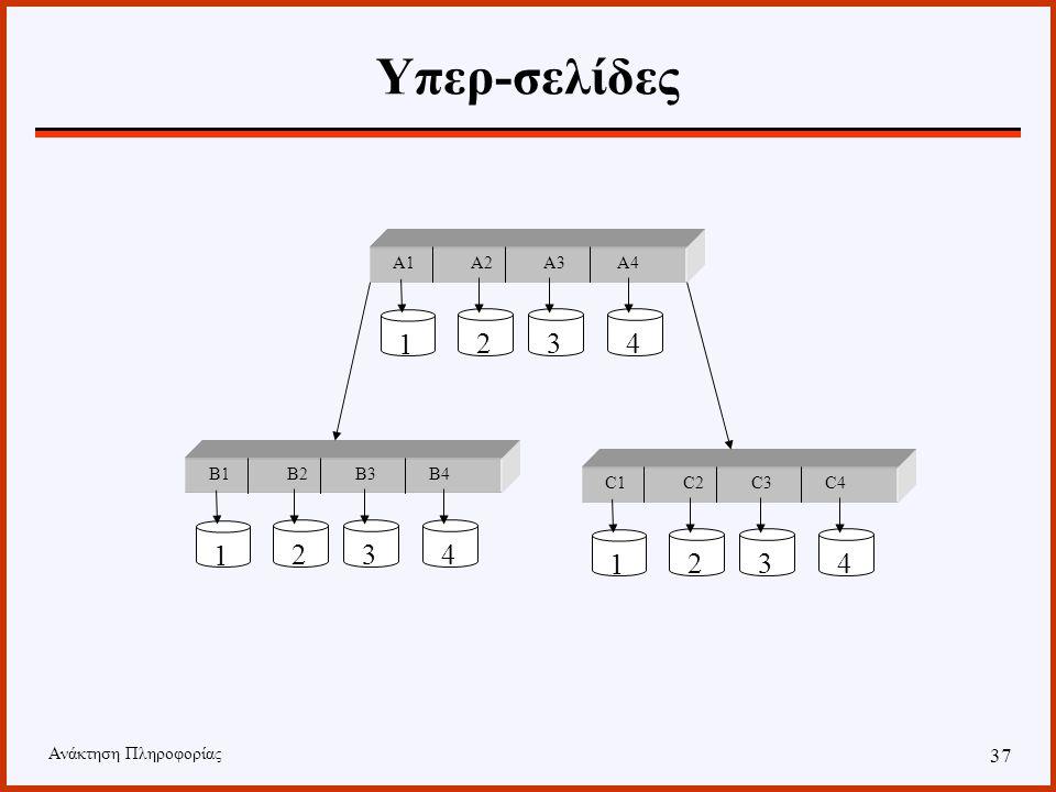 Ανάκτηση Πληροφορίας 36 Υπερ-σελίδες Κάθε κόμβος του δένδρου θεωρείται ότι αποτελείται από Ν τμήματα, όπου Ν ο αριθμός των δίσκων. Κάθε τμήμα αποθηκεύ