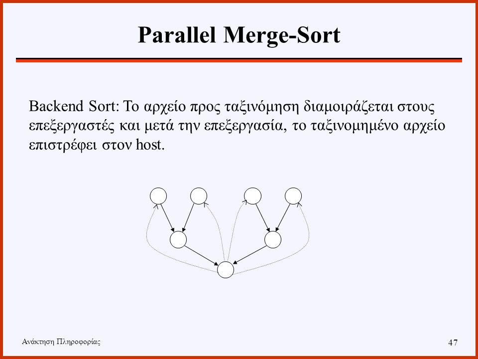Ανάκτηση Πληροφορίας 46 Παράλληλη Ταξινόμηση Στη συνέχεια περιγράφουμε δύο παράλληλους αλγορίθμους οι οποίοι λύνουν το πρόβλημα της ταξινόμησης χρησιμοποιώντας Ν επεξεργαστές.