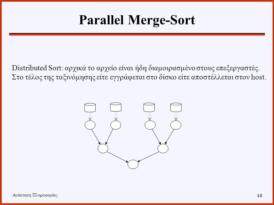 Ανάκτηση Πληροφορίας 47 Parallel Merge-Sort Backend Sort: Το αρχείο προς ταξινόμηση διαμοιράζεται στους επεξεργαστές και μετά την επεξεργασία, το ταξινομημένο αρχείο επιστρέφει στον host.