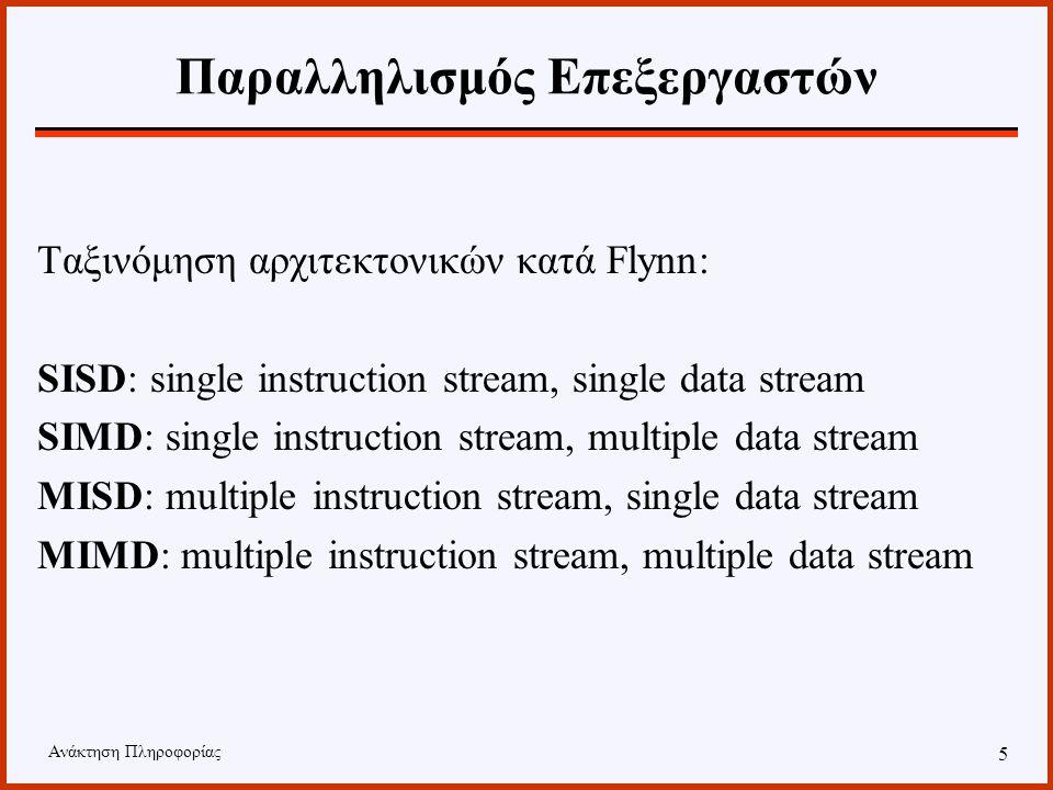 Ανάκτηση Πληροφορίας 4 Παράλληλα Συστήματα Παραλληλισμός μπορεί να εφαρμοστεί σε όλους τους πόρους ενός συστήματος. Συνήθως αναφερόμαστε σε : –παραλλη